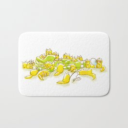 Dog and Full of Cats Funny illustration Bath Mat