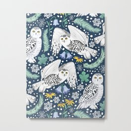 Snowy Owls on a Snowy Eve Metal Print