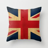 union jack Throw Pillows featuring Union Jack by NicoWriter