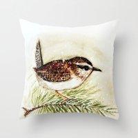 Throw Pillows featuring wren - watercolor  by craftberrybush