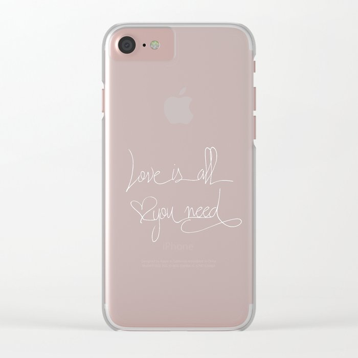 Love is all you need white hand lettering on black Clear iPhone Case