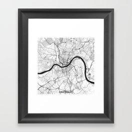 Cincinnati Map Gray Framed Art Print