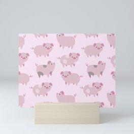 Cute Pink Piglets Pattern Mini Art Print