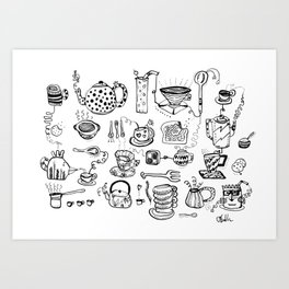 All of the Cups of Tea and Things in My Head Art Print