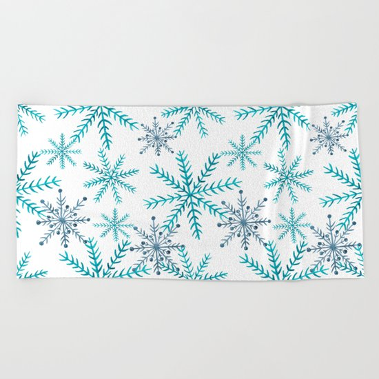 Blue Snowflakes Beach Towel
