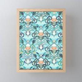Ocean Aqua Art Nouveau Pattern with Peach Flowers Framed Mini Art Print