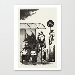 Strange meetings at the Bus STOP Canvas Print
