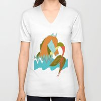 sea horse V-neck T-shirts featuring Sea Horse by Federica Fernanda