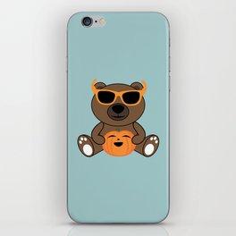 Cool Halloween bear holding pumpkin on Light Blue iPhone Skin