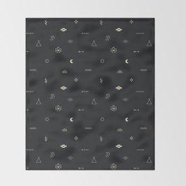 Southwestern Symbolic Pattern in Black & Cream Throw Blanket