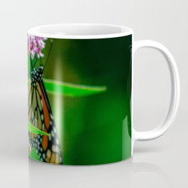monarch butterfly close up on pink milkweed Coffee Mug