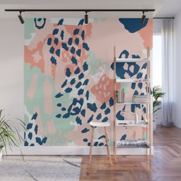 Kala - abstract painting minimal coral mint navy color palette boho hipster decor nursery Wall Mural
