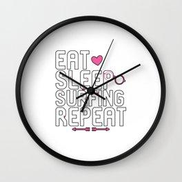 Eat Sleep Surfing Repeat Beach Lovers Wall Clock