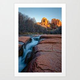 CATHEDRAL ROCK SEDONA PHOTO - ARIZONA SUNSET IMAGE - LANDSCAPE NATURE PHOTOGRAPHY Art Print