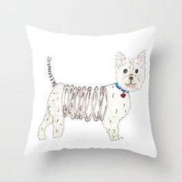 Slinky Westie Throw Pillow