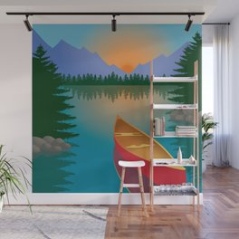 Canoe in a Mountain Lake Pine Tree Forest Wall Mural