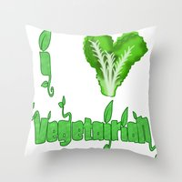 vegetarian Throw Pillows featuring i love vegetarian by Adiel Azrai