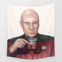 picard Wall Tapestries featuring Tea. Earl Grey. Hot. Captain Picard Star Trek | Watercolor by Olechka