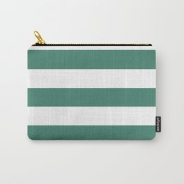 Viridian - solid color - white stripes pattern Carry-All Pouch