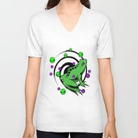 frog V-neck T-shirts featuring Frog  by Michael P. Moriarty