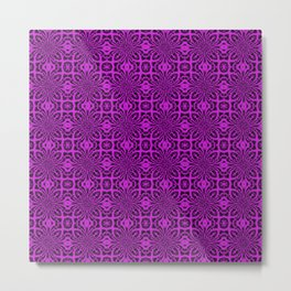 Dazzling Violet Geometric Floral Abstract Metal Print