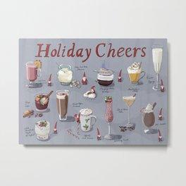 Holiday Cheers: Santas and International holiday drinks Metal Print