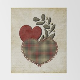 Red & Green Plaid Heart Love Letter Throw Blanket