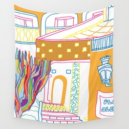 The Terrace And Place Of Olé - Colorful Drawing Wall Tapestry