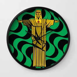Cristo Redentor - Indio - conceptual - modern - green and yellow Wall Clock
