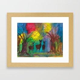 Deer in the Forest Framed Art Print