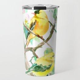American Goldfinch and Apple Blossom Travel Mug