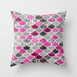 Pink, Silver and Cranberry Mermaid Scales Pattern Throw Pillow