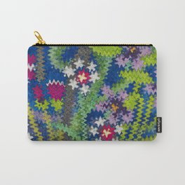 Starry Floral Felted Wool, Blue Carry-All Pouch