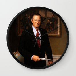 George H. W. Bush Presidential Portrait Wall Clock