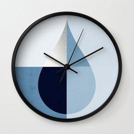 Geometric raindrop - chambray blues Wall Clock