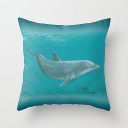 """Shallow Reef"" by Amber Marine ~ Dolphin Art ~ Acrylic Painting, (Copyright 2014) Throw Pillow"