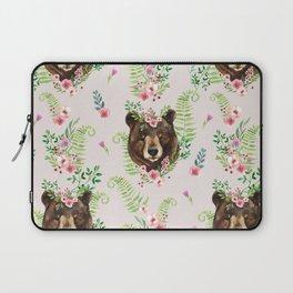 Cute watercolor bear portrait in floral wreath on wild flowers background Laptop Sleeve