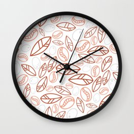Red Coffee Bean Pattern Wall Clock