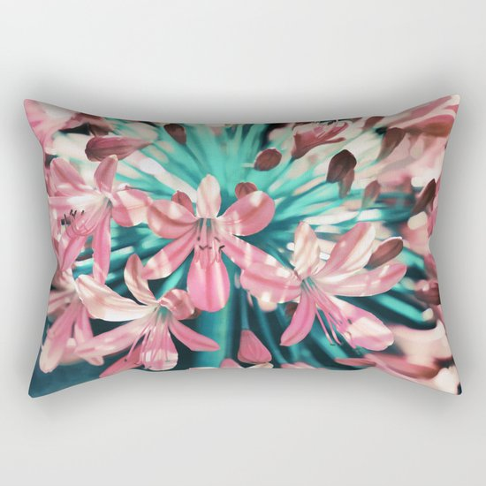 Sunny Agapanthus Flower in Pink & Teal Rectangular Pillow