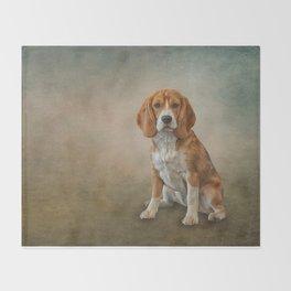 Drawing Dog Beagle Throw Blanket