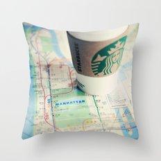 Manhattan and Starbucks Throw Pillow
