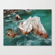Sharp rock in river Canvas Print