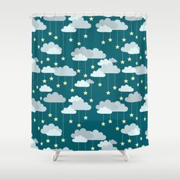 Clouds & Stars Night Sky Pattern Shower Curtain