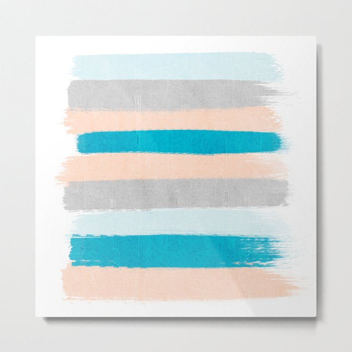 Painted stripes minimal bright summer palette boho striped decor minimalist Metal Print