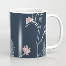 Flora, White and Pink on Navy Blue Coffee Mug