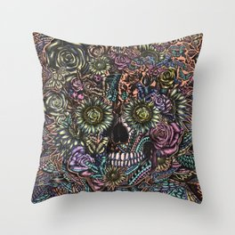 Sensory Overload Skull in Pastels Throw Pillow