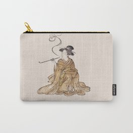 Vintage Oriental Antique Japan Smoking Lady Carry-All Pouch