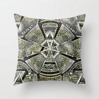 illuminati Throw Pillows featuring Illuminati by Brandon Combs - Glitz & Grime