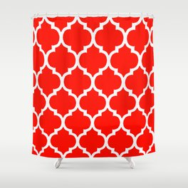 MOROCCAN RED AND WHITE PATTERN Shower Curtain