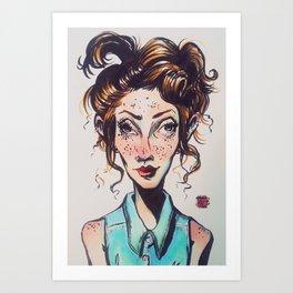 Fish-Eye Girl Art Print